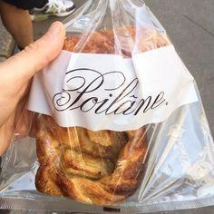 @akaricks POILÂNE (page officielle) Stop #2 on the pastry tour: Poilane. Tartlette aux pommes and pain au chocolat #foodporn #pastries #paris