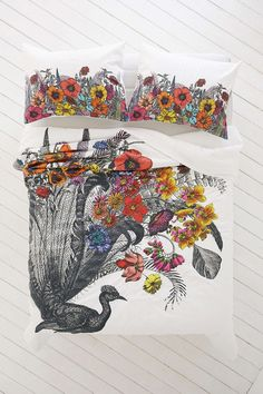 Vanessa Buchmann Peacock Duvet Cover - Urban Outfitters