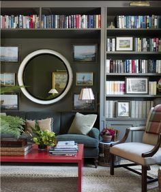 House Beautiful April 2013 grey library with inbuilt sofa section on sheling