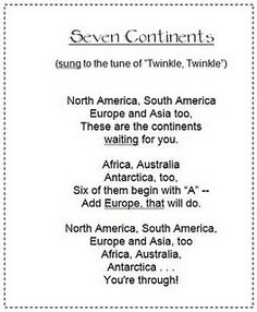 Seven Continents song [Twinkle, Twinkle] Social Studies Activities, Teaching Social Studies, Teaching Science, Teaching Ideas, Kindergarten Science, Study History, History Education, History Class, Teaching History