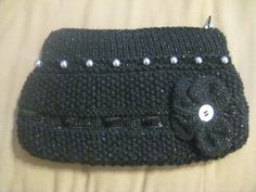 Hand Knitted Black Sparkle Clutch Bag £5.50