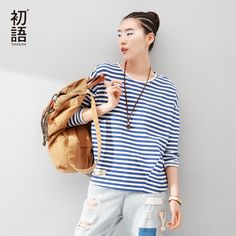 Toyouth Women T-Shirts Batwing Long Sleeve Striped Pattern O-neck Casual T shirt Female Tees Cotton Elegant Ladies Tees Tops Buy now for $ 29.12 & get FREE Shipping worldwide    #f4f #tbt #followme #like4like #shopping #fashion #style #shoppingaddict #followme #musthave #ootd #fashionmodel