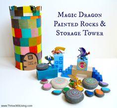 Magic Dragon Painted Rocks & Storage Tower