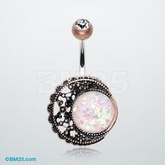 Vintage Boho Filigree Moon Opal Belly Button Ring