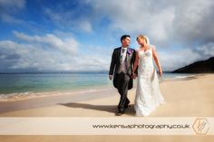Bride & Groom on a Beach in St Ives, Cornwall - by Kensa Photography - www.kensaphotography.co.uk