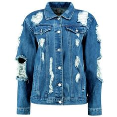 Boohoo Jodie Oversized Super Distressed Denim Jacket (66 BRL) ❤ liked on Polyvore featuring outerwear, jackets, denim jackets, veste, blue jean jacket, oversized distressed denim jacket, blue puffer jacket, denim jacket and distressed denim jacket
