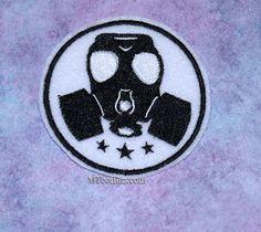 Gasmask Black White Round Iron On Embroidery Patch by MTthreadz, $6.00