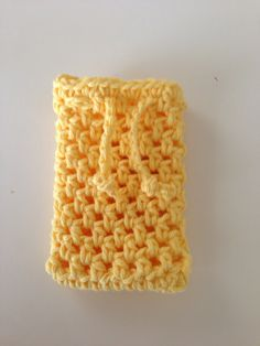 Crochet soap saver in yellow, soap sack, soap holder by needlepointnmore on Etsy