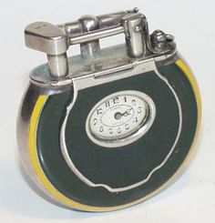 A Rare Dunhill Circular Watch Lighter with hard glass enamel decoration