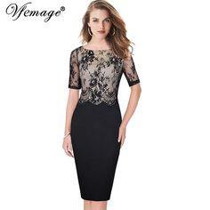 Sexy Transparent Lace Sheath Bodycon Dress Small - plus size 5XL