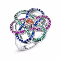 c2851d5df Newest Fashion Multi-color Crystals Ring Hollow Style Flower Silver  Cocktail Rings Size 6 7 8 9 10 HOT SALE Women Jewelry Gift - free shipping  worldwide