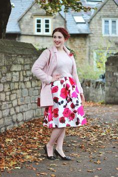 Glam Rose Rrint A Line Midi Skirt
