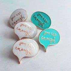 You Are Enough Enamel Pin - teal or iridescent glitter