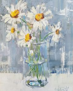 """""""The Friendliest Flower"""" according to Kathleen Kelly in You've Got Mail. Daisies are the friendliest flower. Painting of daisies by artist Gina Brown www.GinaBrownArt.com"""