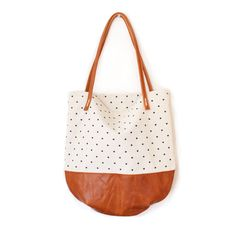 rennes shop — Riley Dot Tote - Cream Dots