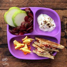 Toddler breakfast: - pear & grape arrangement - yogurt w/ almonds - egg shapes (@funbites) - toasted mozzarella, bacon, & tomato sandwich  #toddlers #toddlerfood #toddlermeals #breakfast #greekgodsyogurt #fancyfruit #f52grams #feedfeed #foodisfun @thefeedfeed #gloobyfood #breakfastsandwich #bacon #replaymeals #replayrecycled @replayrecycled #funbites #funbitesfun #foodisfun #healthykids