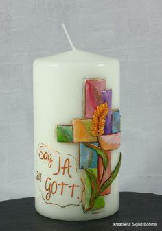 Kerze zur Konfirmation und Firmung von Kreatiwita - Kerzen - Kunst auf DaWanda.com