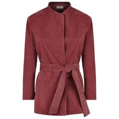 Reiss Willow Suede Wrap Jacket (3 240 SEK) ❤ liked on Polyvore featuring outerwear, jackets, red suede jacket, suede jacket, suede leather jacket, red jacket and reiss