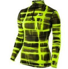 NEW Womens Nike Pro Combat Core Printed 1/2 Zip Volt Black Top X-Small NWT #Nike #ShirtsTops