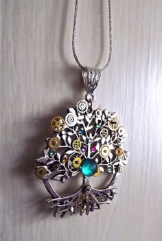 Steampunk necklace tree of life necklace by CindersJewelryDesign