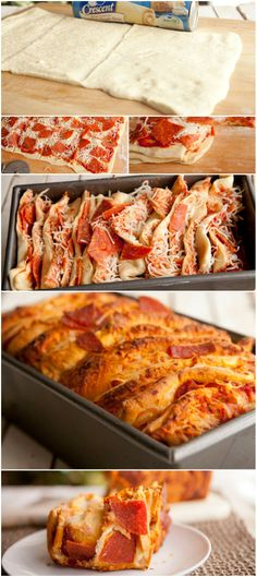 Layer crescent dough and pizza ingredients in this delicious and flaky loaf. Great Recipes, Favorite Recipes, Crescent Roll Recipes, Breakfast Pizza, Football Food, Pull Apart, Appetizer Recipes, Appetizers, Love Food