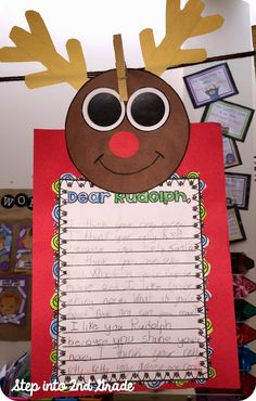 Fun Rudolph craft to encourage writing with your students!