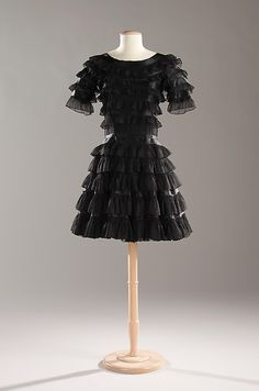 Coco Chanel, Short Cocktail Dress of Finely-Shirred Chiffon Ruffles. Paris, c. 1965.