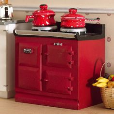 Red Aga-style Stove, dollhouse style, 1:12 scale