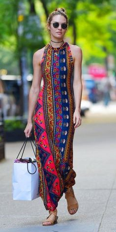 Candice Swanepoel in Stylish Summer Long Dress- Out in NYC - July Candice Swanepoel Style, Outfits and Clothes. Hippie Style, Bohemian Style, Hippie Chic, Bohemian Fashion, Boho Gypsy, Mode Outfits, Casual Outfits, Style Outfits, Casual Dresses
