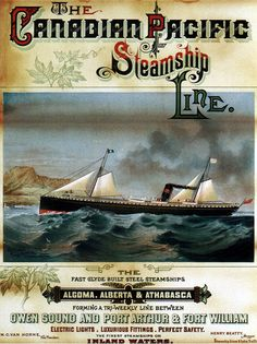 Canadian Pacific Steamship Line, 1884. http://www.flickr.com/photos/27862259@N02/6861727154/