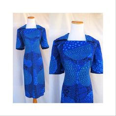 Mod Floral Dress 70's Vintage Psychedelic Op Art Pointy Collar Blue Abstract Hippie Hippy Dress 1970's Plus Size Large XL