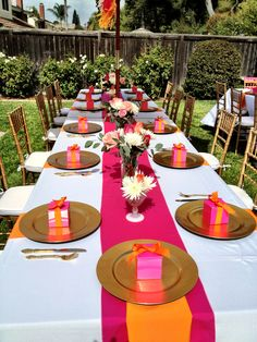 bright pink and orange bridal shower table