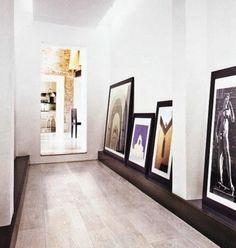 gallery hall via 'A Dash of Details' Inspiration Design, Interior Inspiration, Hallway Inspiration, Interior Exterior, Interior Architecture, Picture Shelves, Picture Ledge, Creative Home, Interiores Design
