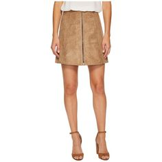 Bishop + Young Suede Zip-Up A-line Skirt (Sand) Women's Skirt ($105) ❤ liked on Polyvore featuring skirts, knee length a line skirt, beige suede skirt, straight skirt, suede skirt and a line skirt