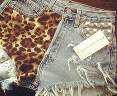 Runwaydreamz : Sofia Vintage Leopard Studded Frayed Shorts