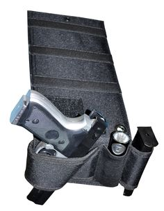 This H21 Under Mattress Bed side Handgun Holster under car seat with Tactical Flashlight /Mag Loop pocket Bedroom Gun Holster was design to store and have a quick access to your guns. It fit most pistols and handguns (including revolvers and semi-autos).
