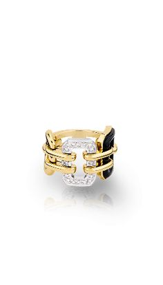 Sortija Barroca en oro blanco de 18 quilates y oro amarillo de 18 quilates, ónice y diamantes.
