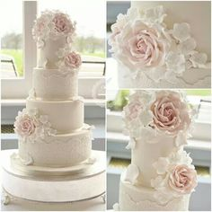 Lace floral wedding cake