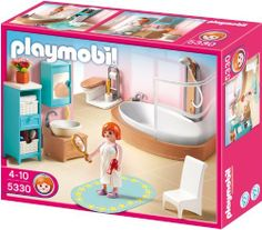 Playmobil 5330 Country Bathroom Set by Playmobil. $21.62. Ages 4 and up. 9.8 x 7.9 x 3 inches. This Playmobil Grand Bathroom set comes with a shower toilet sink cabinet and plenty of other accessories. Play with this set alone or use it to furnish the Playmobil Large Grand Mansion.