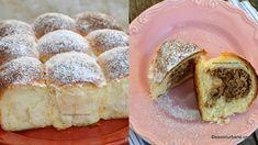 Bucte cu gem si nuca. Buhtele sunt niste chifle pufoase si dulci facute din aluat dospit (de cozonac). Ele pot fi simple sau umplute cu gem si/sau nuca. Cheesecake, Dairy, Desserts, Food, Tailgate Desserts, Deserts, Cheese Cakes, Eten, Postres