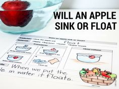 Kindergarten Apple Science - Will and Apple sink or float?