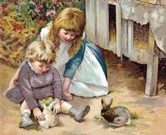 Shop Vintage Victorian & Cute: Children & Bunny Rabbits Postcard created by CharmaineZoe. Personalize it with photos & text or purchase as is! Vintage Children's Books, Vintage Postcards, Vintage Pictures, Vintage Images, Pet Rabbit, Children's Book Illustration, Antique Illustration, Childrens Books, Art For Kids