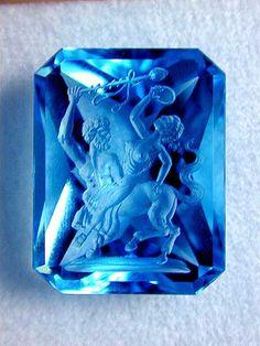 Blue Topaz Intaglio Carving