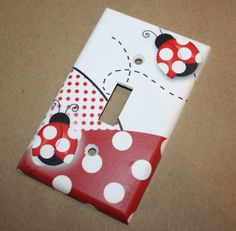 Red Mod Ladybugs Girls Bedroom Single Light Switch by ToadAndLily, $7.00