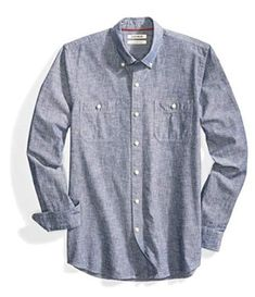 fd9ab32d Top 12 Best Chambray Shirts for Men Reviews in 2019 ~ bestguidepro.com  Casual Button