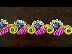 Super quick and easy border rangoli by shalini Easy Rangoli Designs Diwali, Rangoli Simple, Rangoli Designs Latest, Simple Rangoli Designs Images, Rangoli Designs Flower, Rangoli Border Designs, Small Rangoli Design, Border Embroidery Designs, Colorful Rangoli Designs