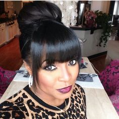 Bun Hairstyles with Bangs and buns, don't you think they are great together? We definitely do! Here we have gathered Bun Hairstyles with Bangs that you will love! My Hairstyle, Ponytail Hairstyles, Hairstyles With Bangs, Pretty Hairstyles, Girl Hairstyles, Wedding Hairstyles, Black Hairstyles, Updos, Bangs Updo