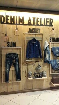 Ideas For Clothes Shop Interior Boutiques Visual Merchandising Clothing Store Interior, Clothing Store Displays, Clothing Store Design, Fashion Merchandising, Visual Merchandising, Denim Display, Jeans Store, Retail Store Design