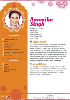 Indian Marriage Biodata Format For A Girl Format In 2019