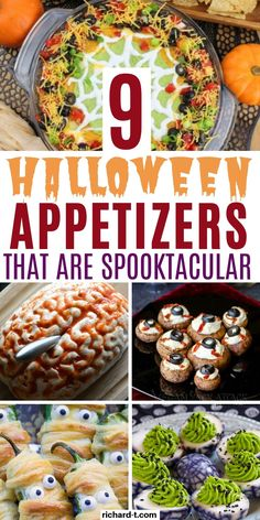 9 Halloween appetizers that are easy and spooky! These Halloween appetizers will be the hit at any Halloween party! 9 Halloween appetizers that are easy and spooky! These Halloween appetizers will be the hit at any Halloween party! Halloween Desserts, Postres Halloween, Halloween Party Appetizers, Halloween Dinner, Halloween Food For Party, Halloween Cookies, Spooky Halloween, Halloween Treats, Halloween Foods